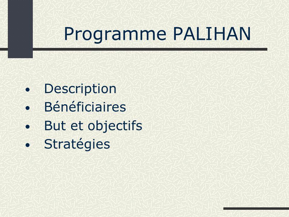 Description du programme PALIHAN (1) PALIHAN: est un programme de formation technique et professionelle continu (2 ans par volée) géré par ERDA Tech, une ONG nationale a commencé en 1997 avec lappui de l UNESCO Jakarta.