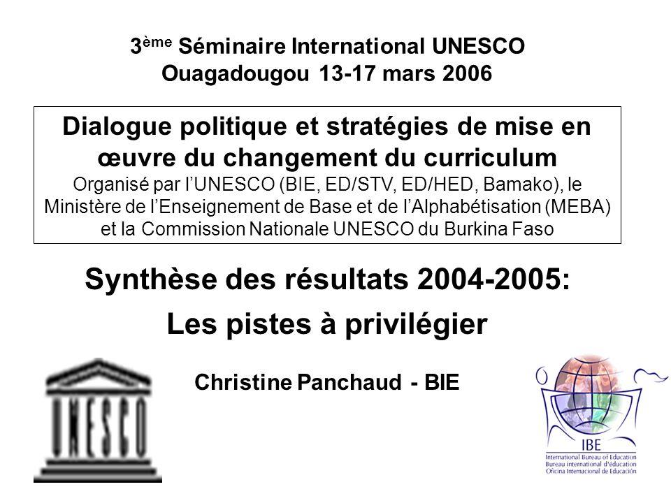3 ème Séminaire International UNESCO Ouagadougou 13-17 mars 2006 Dialogue politique et stratégies de mise en œuvre du changement du curriculum Organisé par lUNESCO (BIE, ED/STV, ED/HED, Bamako), le Ministère de lEnseignement de Base et de lAlphabétisation (MEBA) et la Commission Nationale UNESCO du Burkina Faso Synthèse des résultats 2004-2005: Les pistes à privilégier Christine Panchaud - BIE