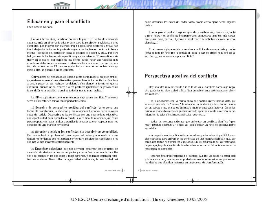 UNESCO Centre d'échange d'information : Thierry Guednée, 10/02/2005 PDF: facteurs bloquants Une page de couverture trop lourde Une compression dimages