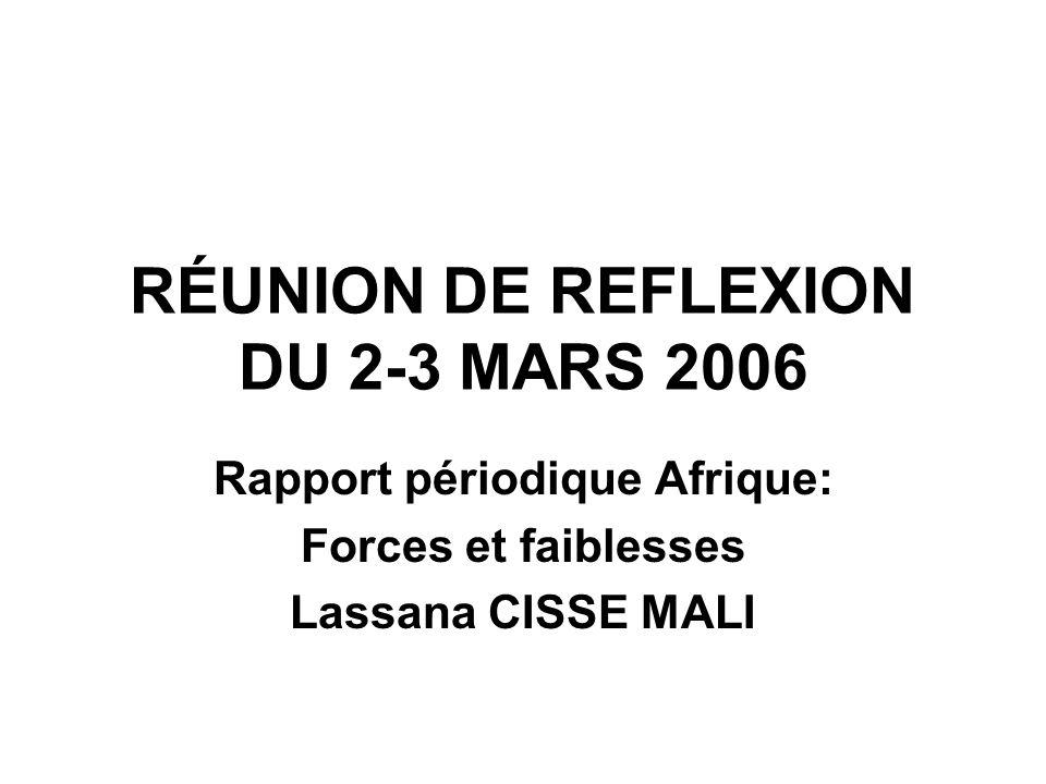 RÉUNION DE REFLEXION DU 2-3 MARS 2006 Rapport périodique Afrique: Forces et faiblesses Lassana CISSE MALI