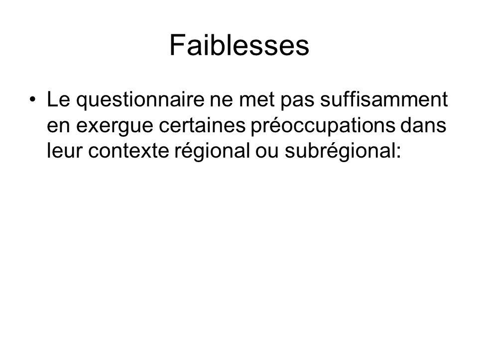 Faiblesses Le questionnaire ne met pas suffisamment en exergue certaines préoccupations dans leur contexte régional ou subrégional:
