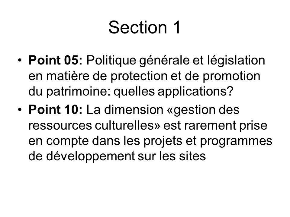 Section 1 Point 05: Politique générale et législation en matière de protection et de promotion du patrimoine: quelles applications.