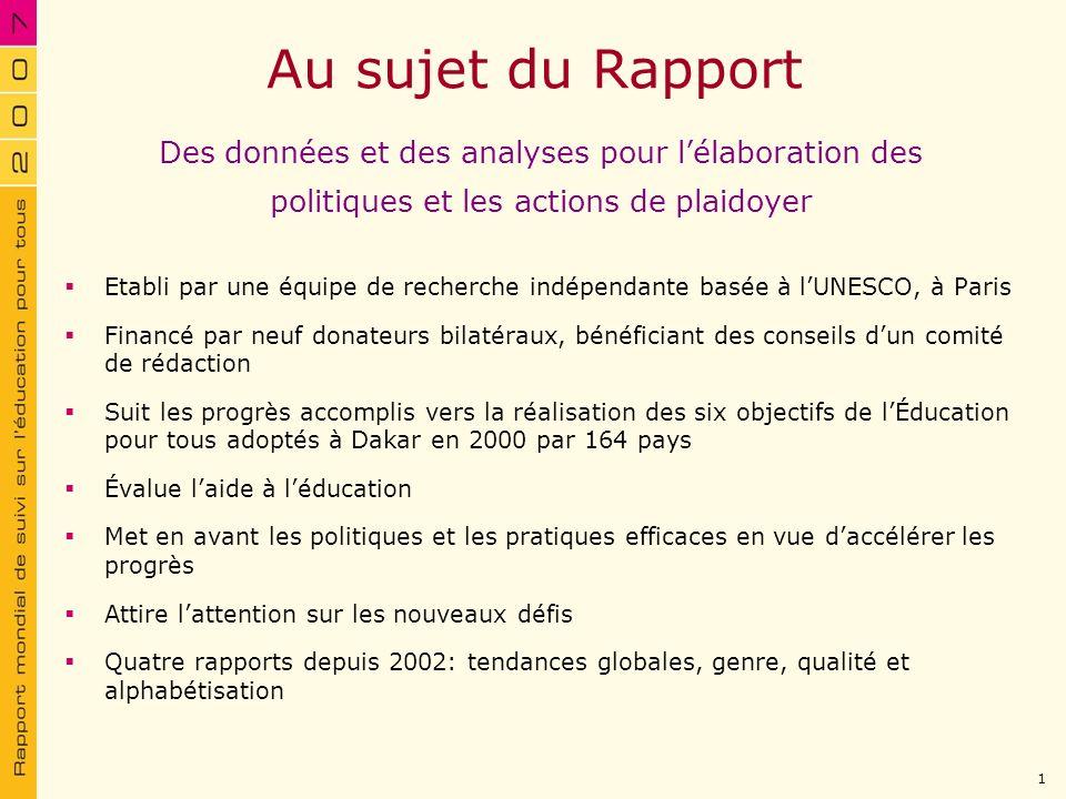 Au sujet du Rapport Etabli par une équipe de recherche indépendante basée à lUNESCO, à Paris Financé par neuf donateurs bilatéraux, bénéficiant des co