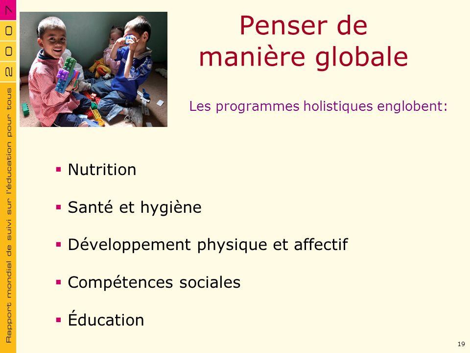 Nutrition Penser de manière globale Les programmes holistiques englobent: Nutrition Santé et hygiène Développement physique et affectif Compétences so