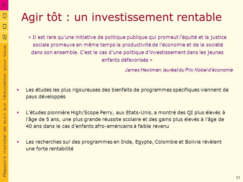 Agir tôt : un investissement rentable Les études les plus rigoureuses des bienfaits de programmes spécifiques viennent de pays développés Létudes pion