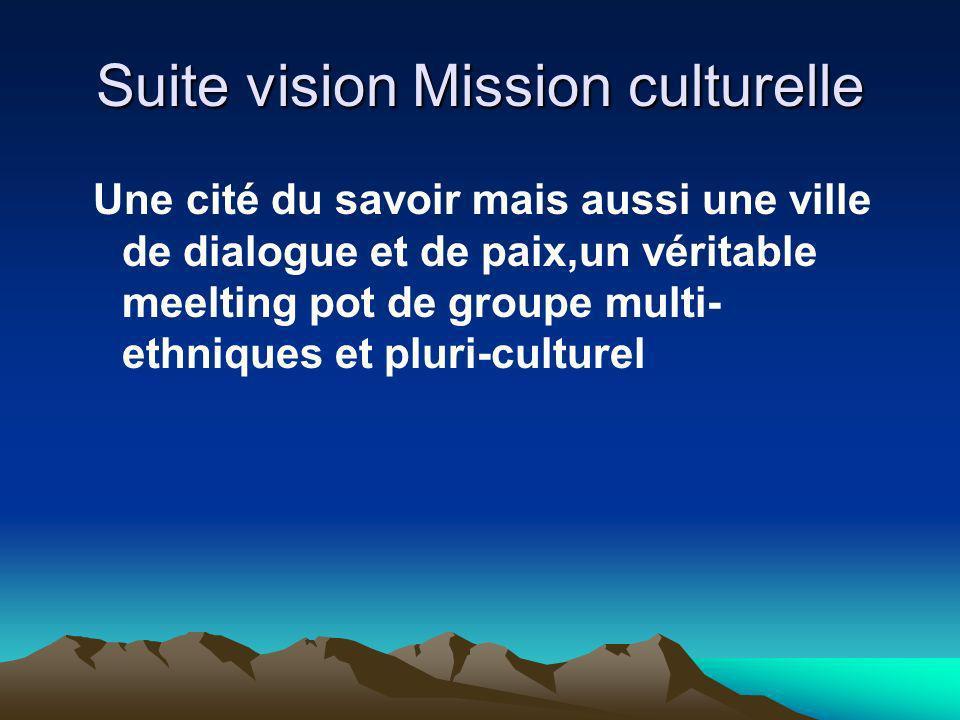 Suite vision Mission culturelle Une cité du savoir mais aussi une ville de dialogue et de paix,un véritable meelting pot de groupe multi- ethniques et