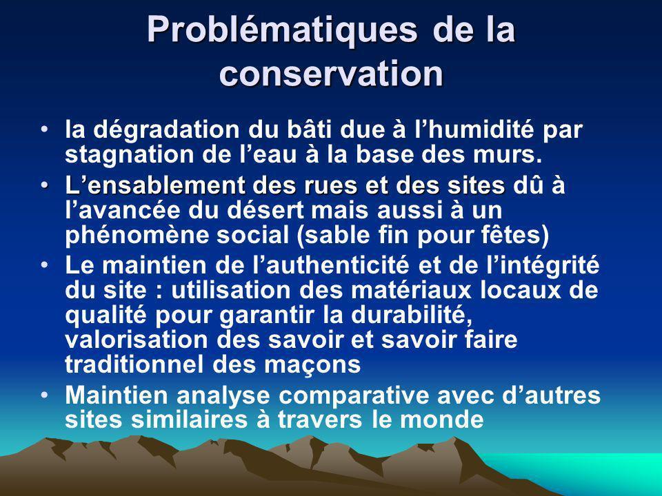 Problématiques de la conservation la dégradation du bâti due à lhumidité par stagnation de leau à la base des murs. Lensablement des rues et des sites