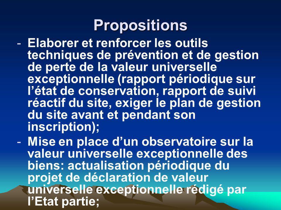 Propositions -Elaborer et renforcer les outils techniques de prévention et de gestion de perte de la valeur universelle exceptionnelle (rapport périod