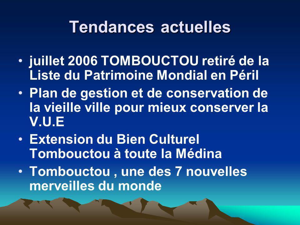 Tendances actuelles juillet 2006 TOMBOUCTOU retiré de la Liste du Patrimoine Mondial en Péril Plan de gestion et de conservation de la vieille ville p