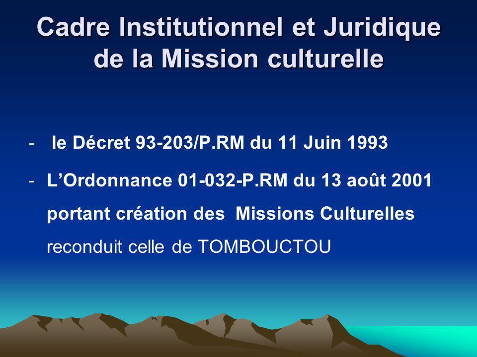 Cadre Institutionnel et Juridique de la Mission culturelle - le Décret 93-203/P.RM du 11 Juin 1993 -LOrdonnance 01-032-P.RM du 13 août 2001 portant cr