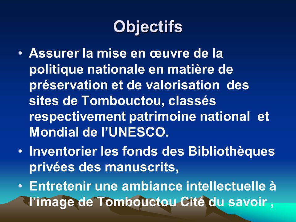 Objectifs Assurer la mise en œuvre de la politique nationale en matière de préservation et de valorisation des sites de Tombouctou, classés respective