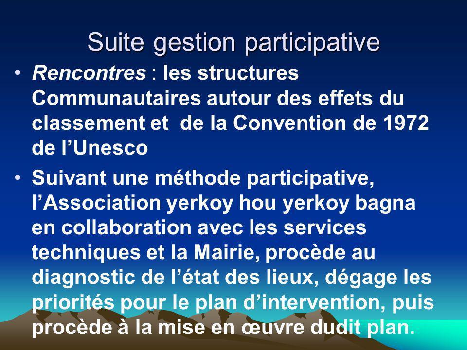 Suite gestion participative Rencontres : les structures Communautaires autour des effets du classement et de la Convention de 1972 de lUnesco Suivant