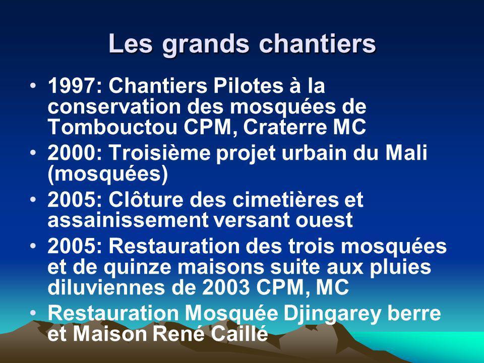Les grands chantiers 1997: Chantiers Pilotes à la conservation des mosquées de Tombouctou CPM, Craterre MC 2000: Troisième projet urbain du Mali (mosq