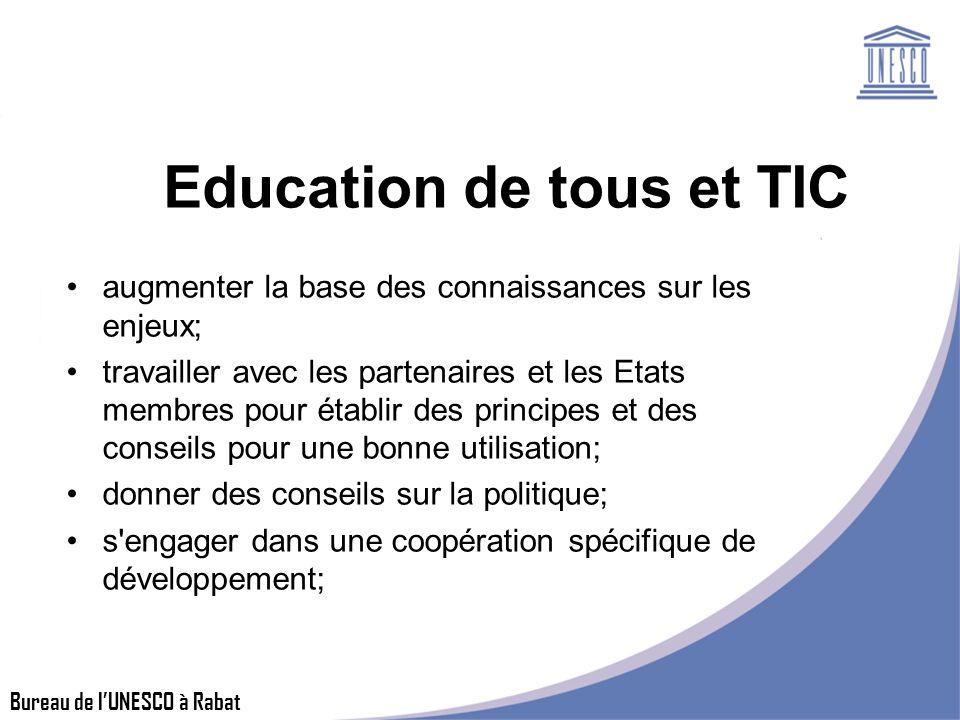 Bureau de lUNESCO à Rabat Education de tous et TIC augmenter la base des connaissances sur les enjeux; travailler avec les partenaires et les Etats membres pour établir des principes et des conseils pour une bonne utilisation; donner des conseils sur la politique; s engager dans une coopération spécifique de développement;