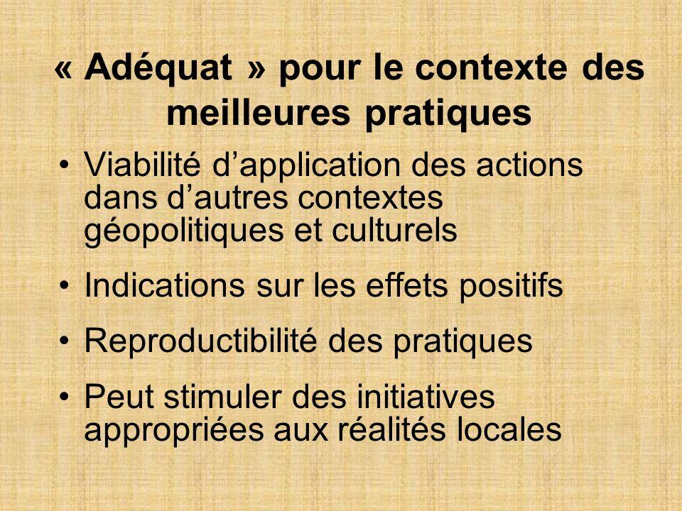 « Adéquat » pour le contexte des meilleures pratiques Viabilité dapplication des actions dans dautres contextes géopolitiques et culturels Indications
