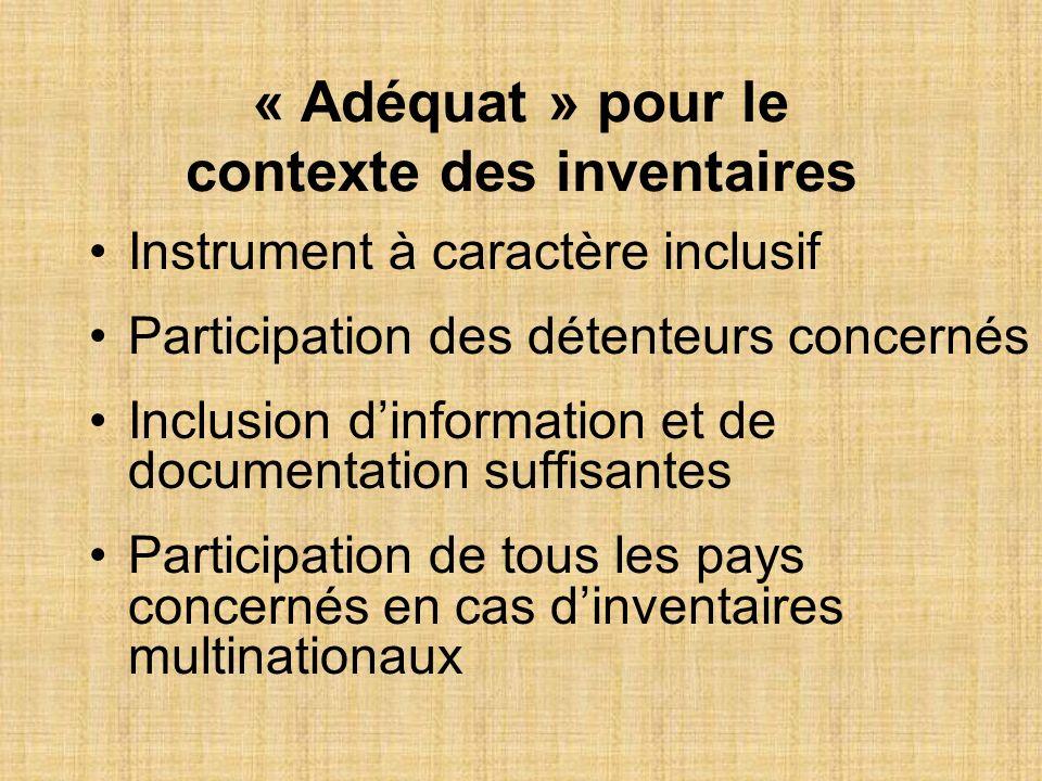 « Adéquat » pour le contexte des inventaires Instrument à caractère inclusif Participation des détenteurs concernés Inclusion dinformation et de docum