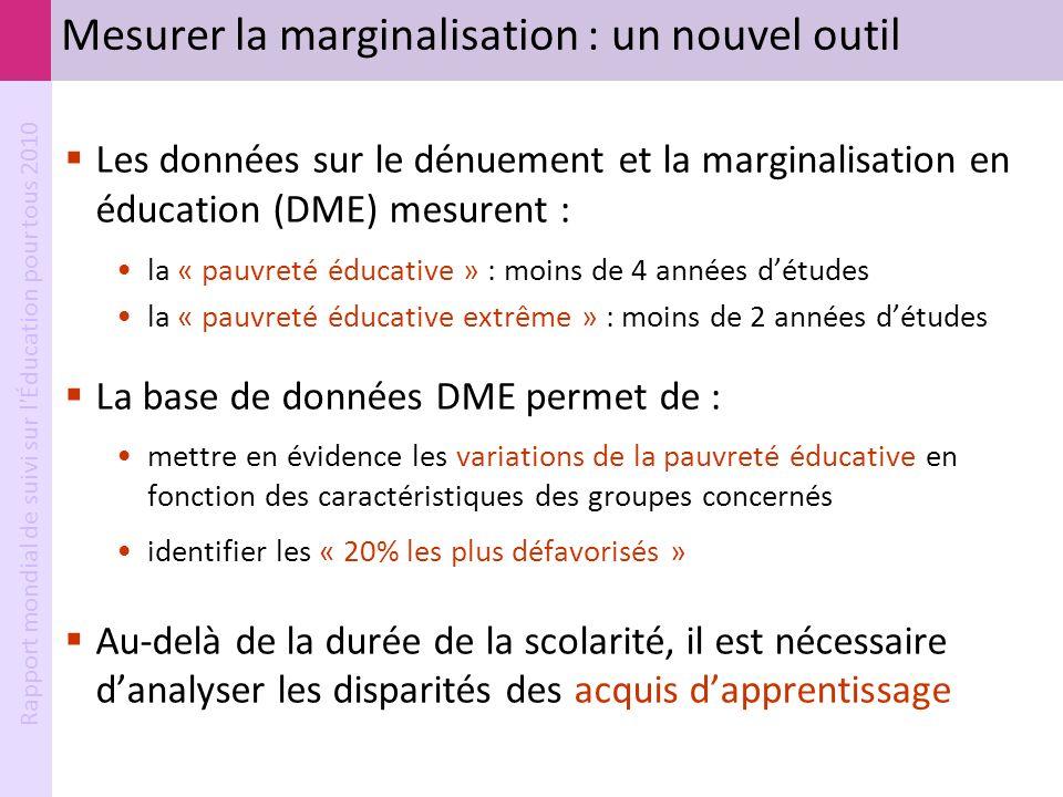 Rapport mondial de suivi sur l'Éducation pour tous 2010 Mesurer la marginalisation : un nouvel outil Les données sur le dénuement et la marginalisatio