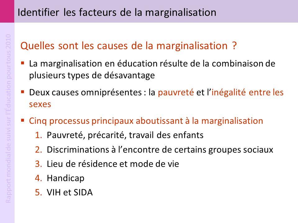 Rapport mondial de suivi sur l'Éducation pour tous 2010 Identifier les facteurs de la marginalisation Quelles sont les causes de la marginalisation ?
