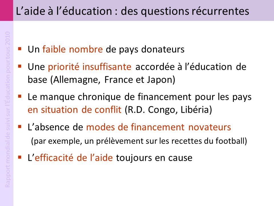 Rapport mondial de suivi sur l'Éducation pour tous 2010 Laide à léducation : des questions récurrentes Un faible nombre de pays donateurs Une priorité