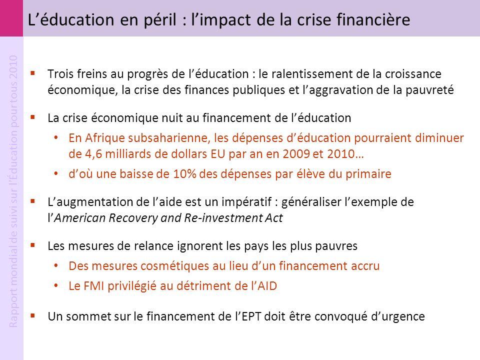 Rapport mondial de suivi sur l'Éducation pour tous 2010 Léducation en péril : limpact de la crise financière Trois freins au progrès de léducation : l