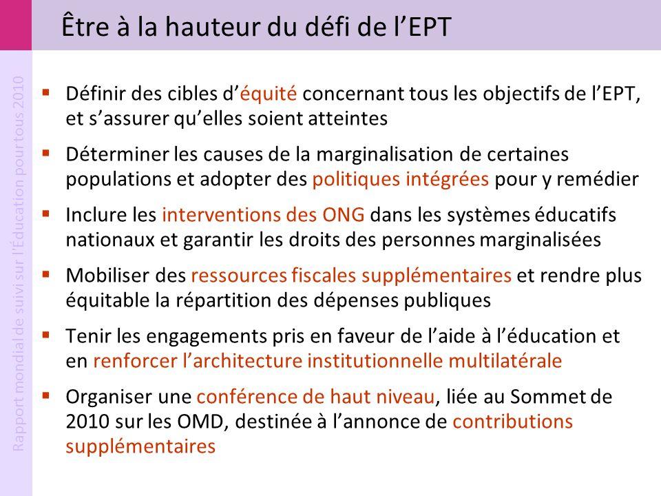 Rapport mondial de suivi sur l'Éducation pour tous 2010 Être à la hauteur du défi de lEPT Définir des cibles déquité concernant tous les objectifs de