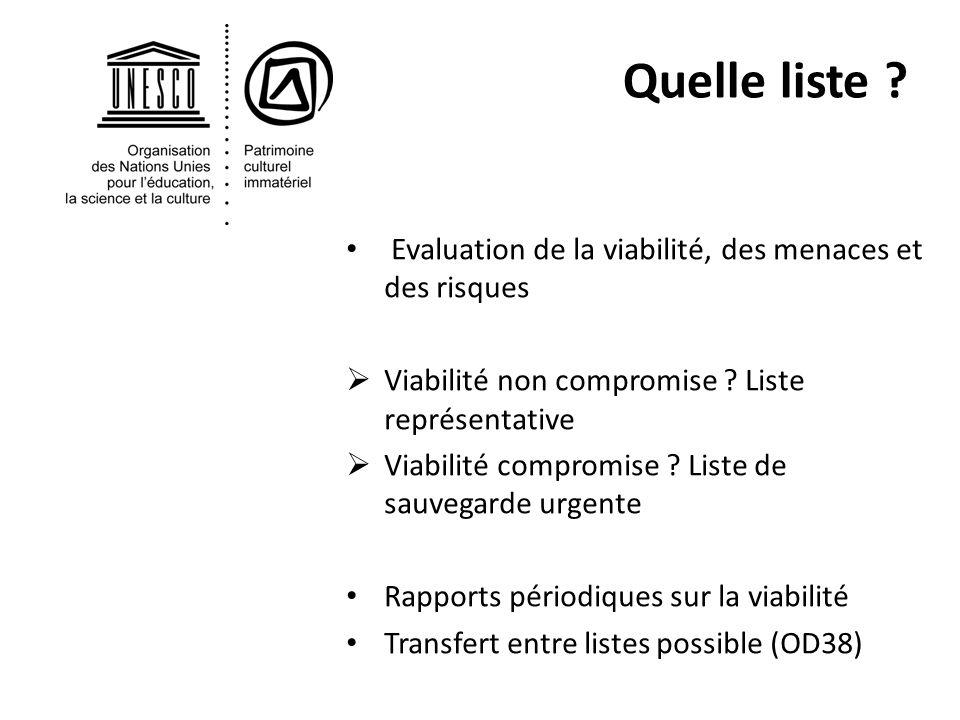 Evaluation de la viabilité, des menaces et des risques Viabilité non compromise .