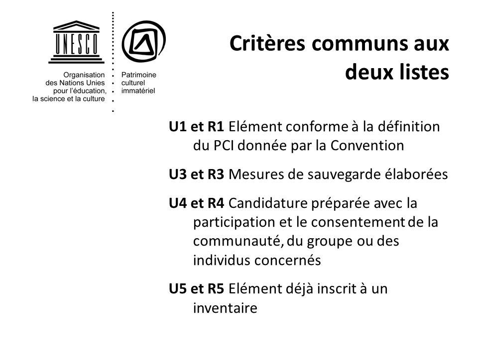 Critères communs aux deux listes U1 et R1 Elément conforme à la définition du PCI donnée par la Convention U3 et R3 Mesures de sauvegarde élaborées U4 et R4 Candidature préparée avec la participation et le consentement de la communauté, du groupe ou des individus concernés U5 et R5 Elément déjà inscrit à un inventaire