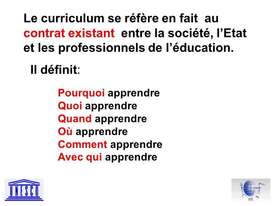 Le curriculum se réfère en fait au contrat existant entre la société, lEtat et les professionnels de léducation.