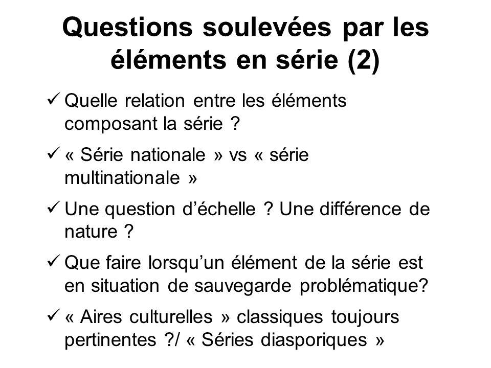 Questions soulevées par les éléments en série (2) Quelle relation entre les éléments composant la série ? « Série nationale » vs « série multinational