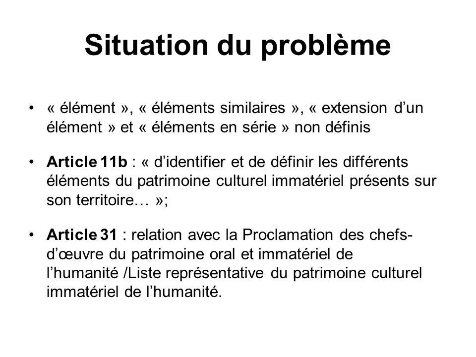 Situation du problème « élément », « éléments similaires », « extension dun élément » et « éléments en série » non définis Article 11b : « didentifier