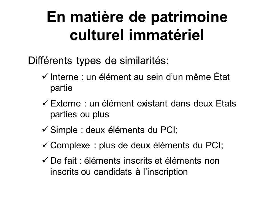 En matière de patrimoine culturel immatériel Différents types de similarités: Interne : un élément au sein dun même État partie Externe : un élément e
