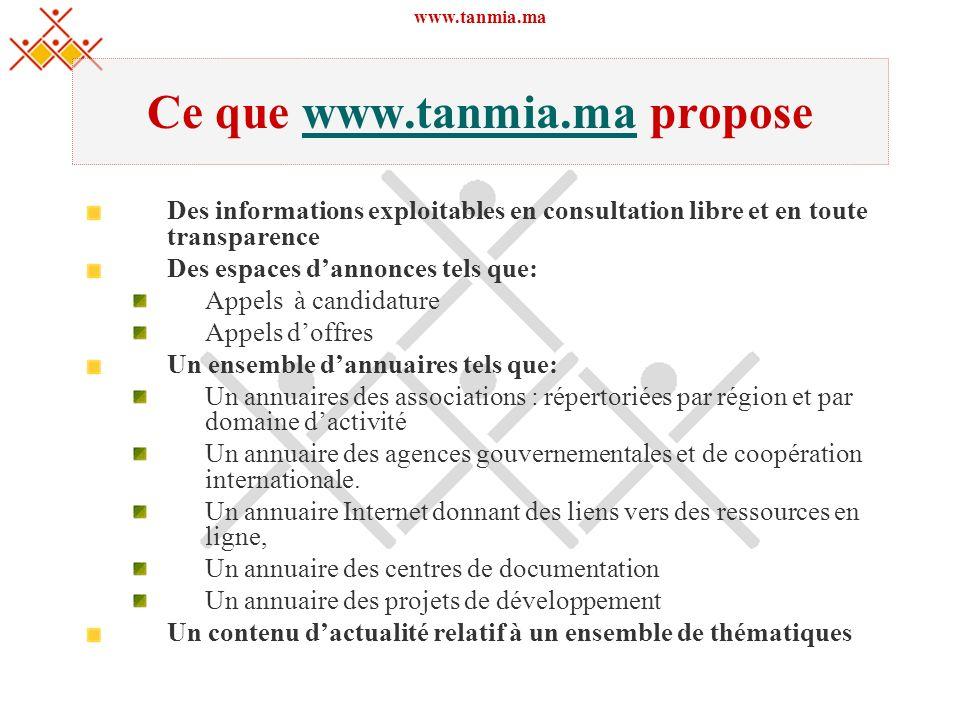 www.tanmia.ma Ce que www.tanmia.ma proposewww.tanmia.ma Des informations exploitables en consultation libre et en toute transparence Des espaces danno