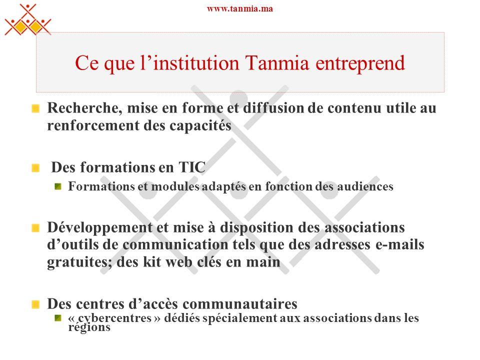 www.tanmia.ma Ce que linstitution Tanmia entreprend Recherche, mise en forme et diffusion de contenu utile au renforcement des capacités Des formation