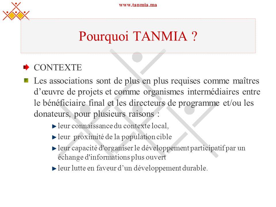 www.tanmia.ma Pourquoi TANMIA ? CONTEXTE Les associations sont de plus en plus requises comme maîtres dœuvre de projets et comme organismes intermédia