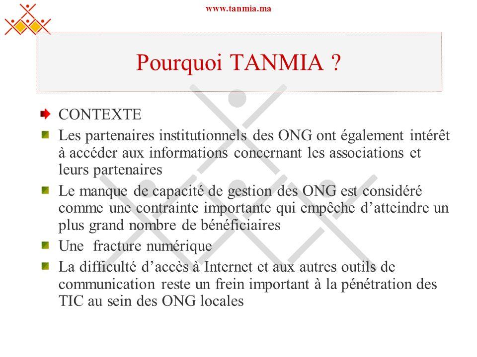 www.tanmia.ma Pourquoi TANMIA ? CONTEXTE Les partenaires institutionnels des ONG ont également intérêt à accéder aux informations concernant les assoc