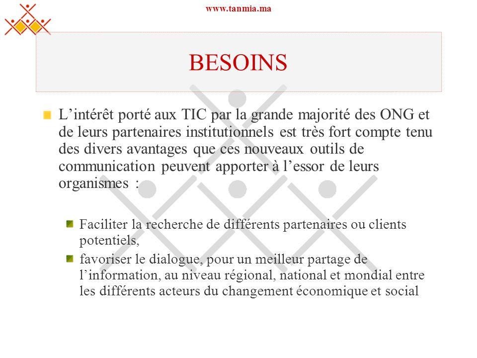 www.tanmia.ma BESOINS Lintérêt porté aux TIC par la grande majorité des ONG et de leurs partenaires institutionnels est très fort compte tenu des dive