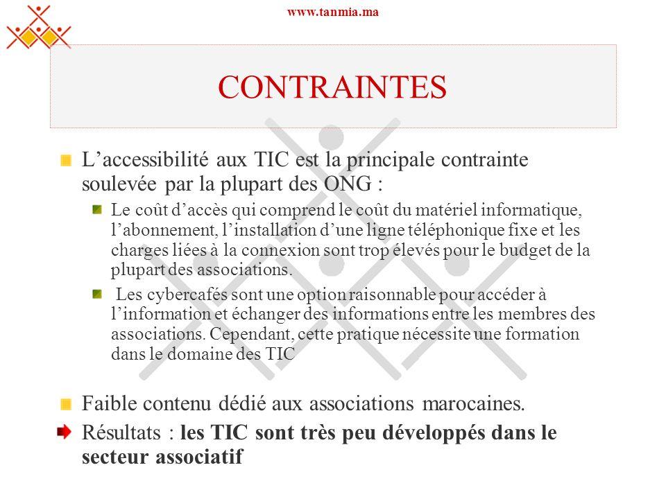 www.tanmia.ma CONTRAINTES Laccessibilité aux TIC est la principale contrainte soulevée par la plupart des ONG : Le coût daccès qui comprend le coût du