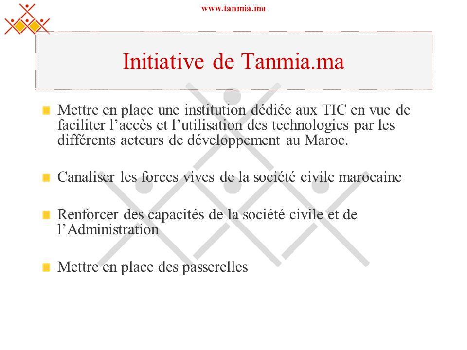 www.tanmia.ma Initiative de Tanmia.ma Mettre en place une institution dédiée aux TIC en vue de faciliter laccès et lutilisation des technologies par l