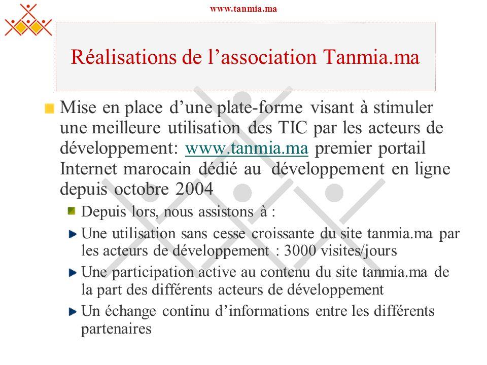 www.tanmia.ma Réalisations de lassociation Tanmia.ma Mise en place dune plate-forme visant à stimuler une meilleure utilisation des TIC par les acteur