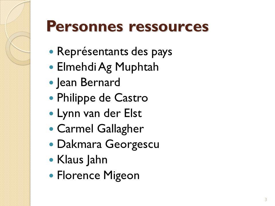 3 Personnes ressources Représentants des pays Elmehdi Ag Muphtah Jean Bernard Philippe de Castro Lynn van der Elst Carmel Gallagher Dakmara Georgescu