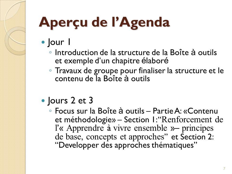 8 Aperçu de lagenda Jour 3 Visite décole (après-midi) Jour 4 Focus sur la Bo î te à outils – Partie A, Sections 3 et 4 (Travaux de groupe) Focus sur la Bo î te à outils – Partie B: Processus du curriculum, Sections 5, 6 et 7 (discussions en session plénière)