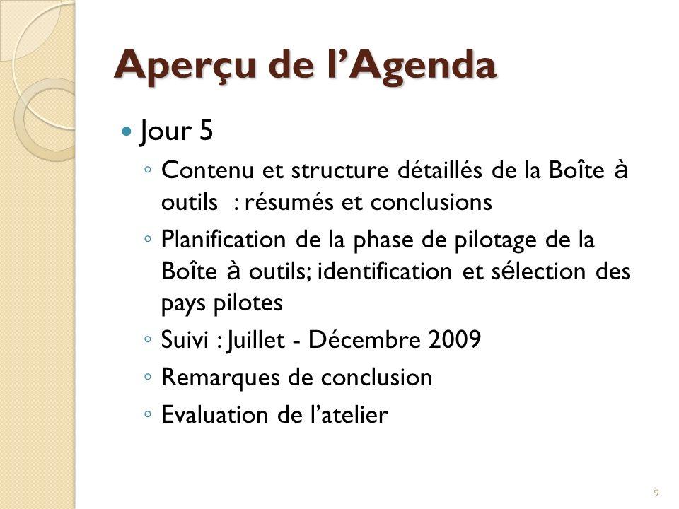 9 Aperçu de lAgenda Jour 5 Contenu et structure détaillés de la Bo î te à outils : résumés et conclusions Planification de la phase de pilotage de la