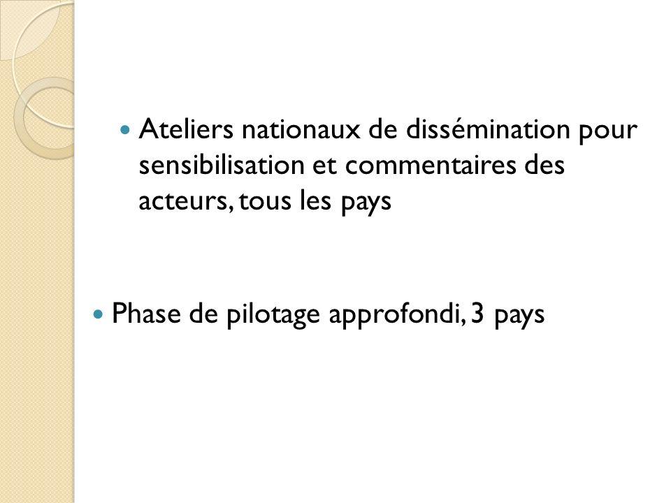 Ateliers nationaux de dissémination pour sensibilisation et commentaires des acteurs, tous les pays Phase de pilotage approfondi, 3 pays