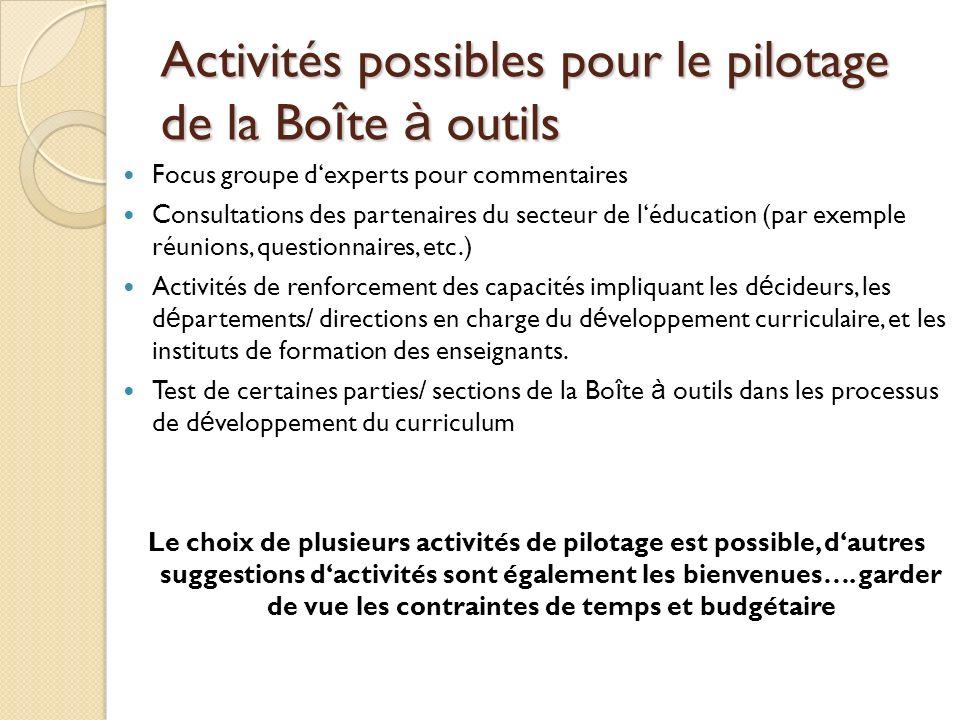 Activités possibles pour le pilotage de la Bo î te à outils Focus groupe dexperts pour commentaires Consultations des partenaires du secteur de léduca
