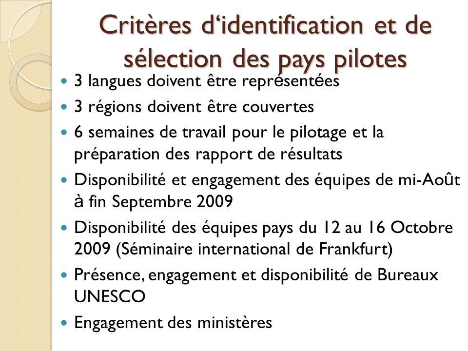 Critères didentification et de sélection des pays pilotes 3 langues doivent être repr é sent é es 3 régions doivent être couvertes 6 semaines de trava