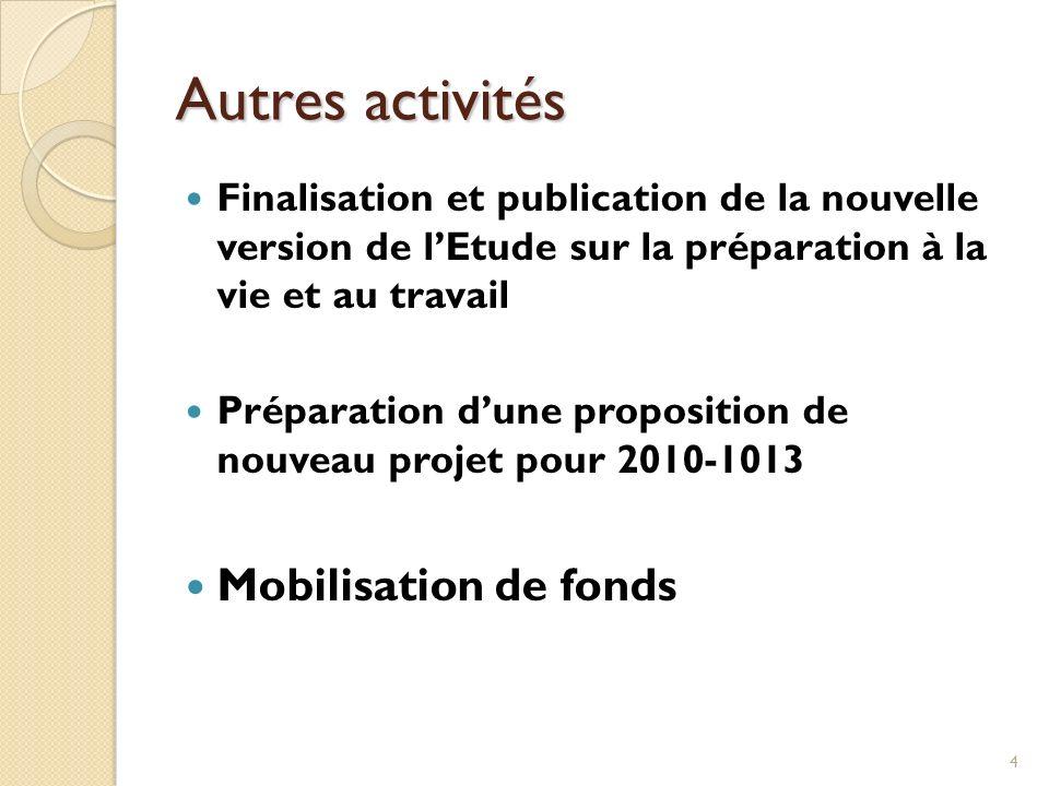 4 Autres activités Finalisation et publication de la nouvelle version de lEtude sur la préparation à la vie et au travail Préparation dune proposition