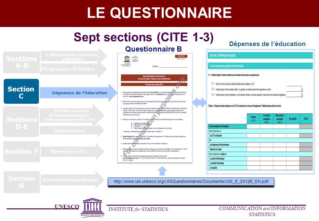 UNESCO INSTITUTE for STATISTICS COMMUNICATION and INFORMATION STATISTICS LE QUESTIONNAIRE Dépenses de léducation Section C Élèves inscrits Section F P