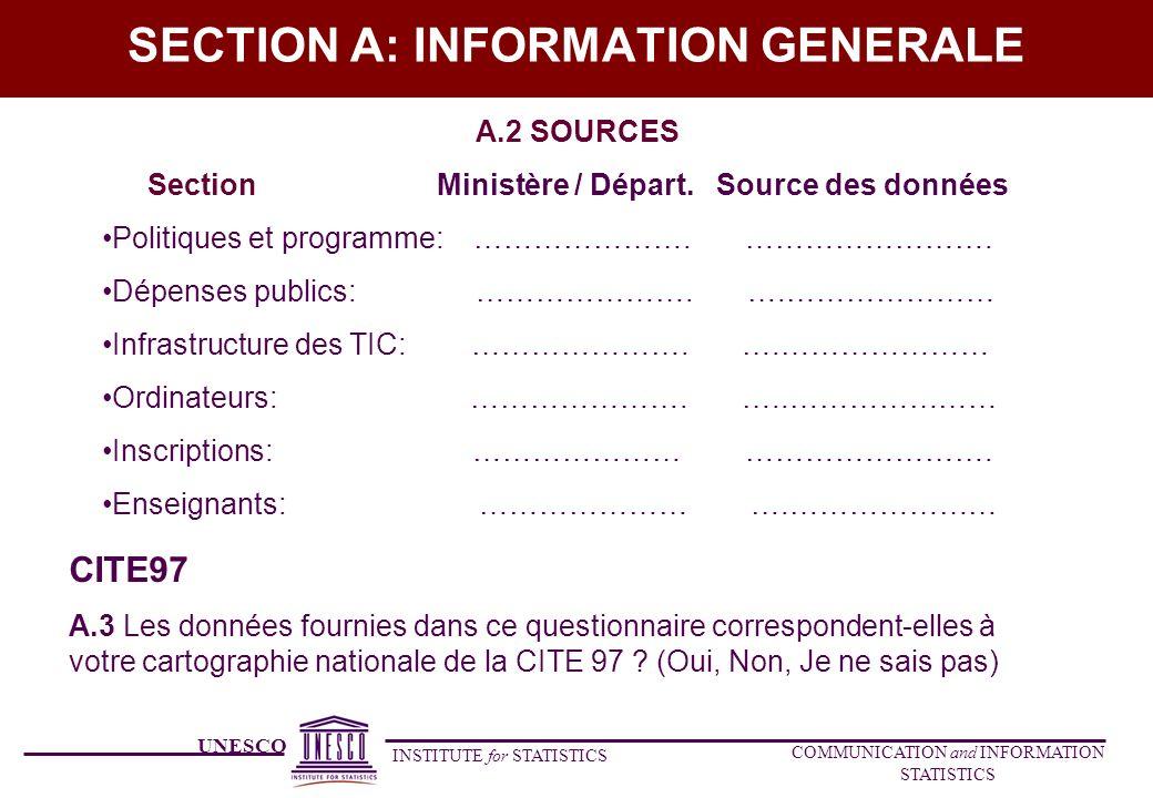 UNESCO INSTITUTE for STATISTICS COMMUNICATION and INFORMATION STATISTICS SECTION A: INFORMATION GENERALE A.2 SOURCES Section Ministère / Départ. Sourc