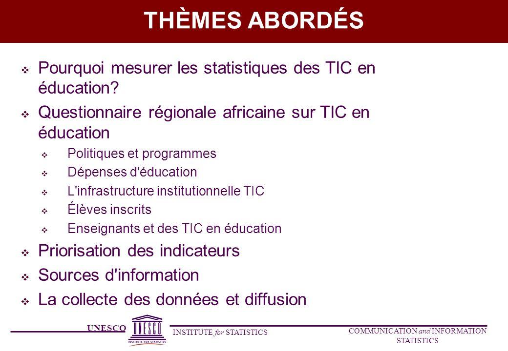 UNESCO INSTITUTE for STATISTICS COMMUNICATION and INFORMATION STATISTICS THÈMES ABORDÉS Pourquoi mesurer les statistiques des TIC en éducation? Questi