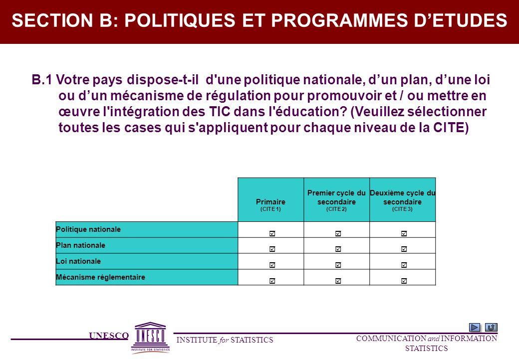 UNESCO INSTITUTE for STATISTICS COMMUNICATION and INFORMATION STATISTICS SECTION B: POLITIQUES ET PROGRAMMES DETUDES B.1 Votre pays dispose-t-il d'une